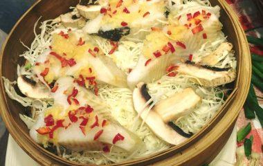 הליבוט מאודה עם ירקות בסגנון סיני